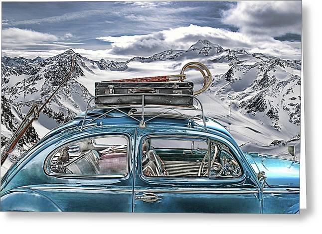Beetle Car Greeting Cards - Beetle in the Alps Greeting Card by Joachim G Pinkawa