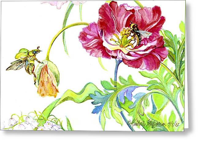 Wasps Greeting Cards - Beetle Poppy and Tulip Greeting Card by Kimberly McSparran