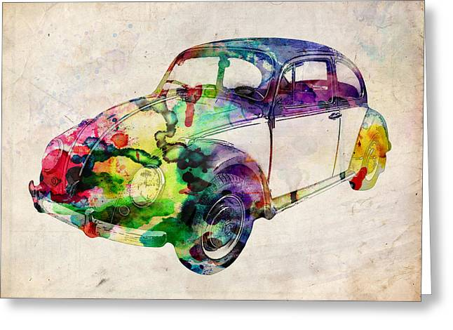 Vehicle Greeting Cards - Beetle Urban Art Greeting Card by Michael Tompsett