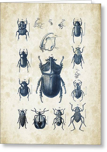 Vintage Books Greeting Cards - Beetles - 1897 - 02 Greeting Card by Aged Pixel