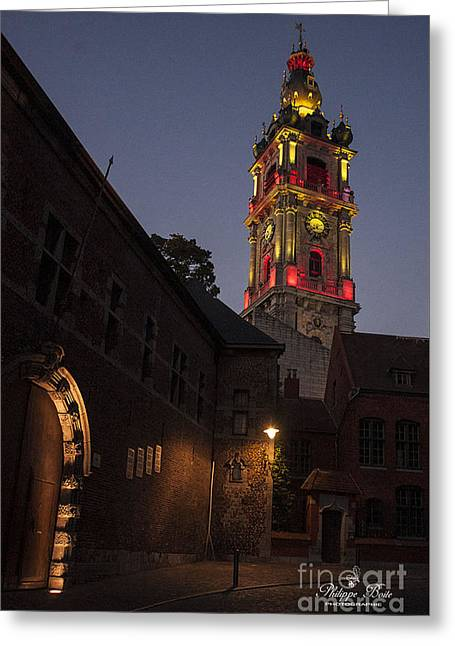 Illuminate Greeting Cards - Beffroi illumine 2 Greeting Card by Philippe Boite