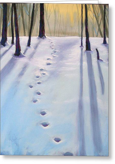 Snow Tree Prints Pastels Greeting Cards - Before Dusk in Deep Snow Greeting Card by Christine Camp