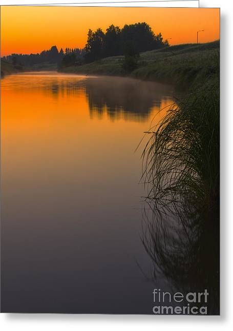 Before Sunrise On The River Greeting Card by Veikko Suikkanen
