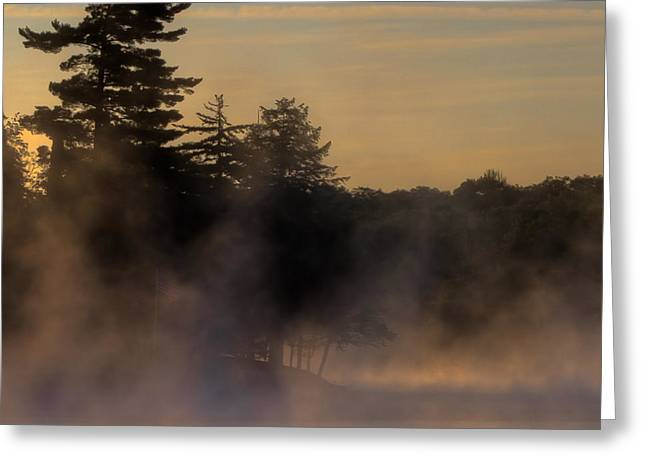 Mist On Lake Greeting Cards - Before the Channel - Old Forge Pond Greeting Card by David Patterson