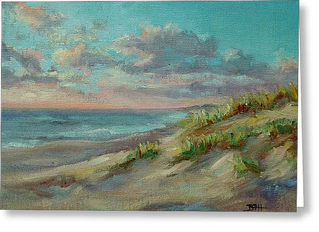 Sand Dunes Paintings Greeting Cards - Before The Crowds Greeting Card by Barbara Hageman