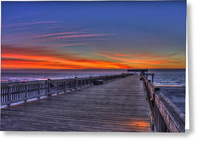 Tybee Island Pier Greeting Cards - Before The Dawn Tybee Island Pier Greeting Card by Reid Callaway