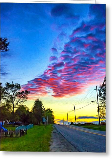 Sunset Prints Greeting Cards - Before the Lunar Eclipse - Paint Greeting Card by Steve Harrington
