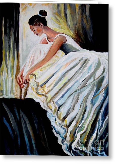 Evening Dress Mixed Media Greeting Cards - Before the Performance Greeting Card by Elizabeth Robinette Tyndall