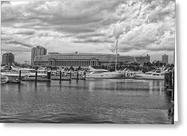Facades Mixed Media Greeting Cards - Before The Spring Storm Chicago Soldier Field BW Greeting Card by Thomas Woolworth