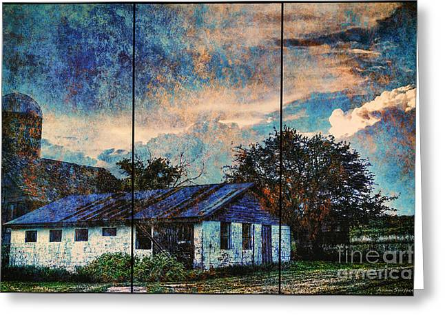 Outbuildings Greeting Cards - Before The Storm Abandoned Kansas Farmstead Greeting Card by Anna Surface