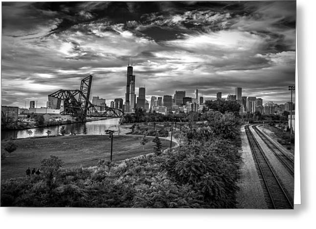 Scenic Greeting Cards - Before the Storm Chicago Greeting Card by Mike Burgquist