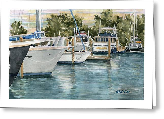 Docked Boats Greeting Cards - Beginning Another Great Day Greeting Card by Dick Dee