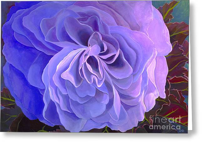 Blue Begonias Greeting Cards - Begonia Bloom Greeting Card by Laura DeDonato