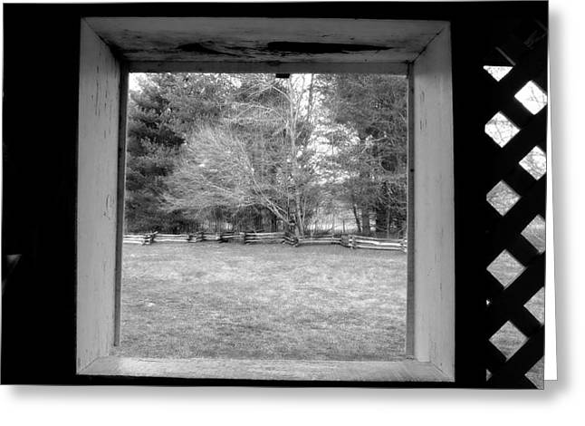 Becky Greeting Cards - Behind Cable Mill House Black and White Greeting Card by Judy Wanamaker