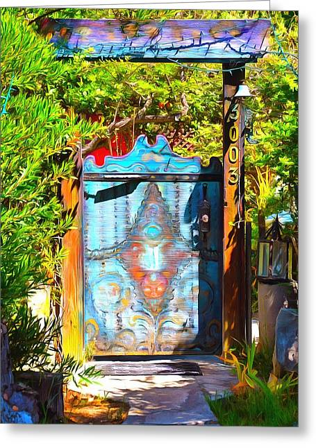 Behind The Blue Door Greeting Card by Barbara Snyder
