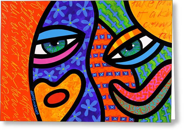 Abstract Faces Greeting Cards - Behind the Curtain Greeting Card by Steven Scott