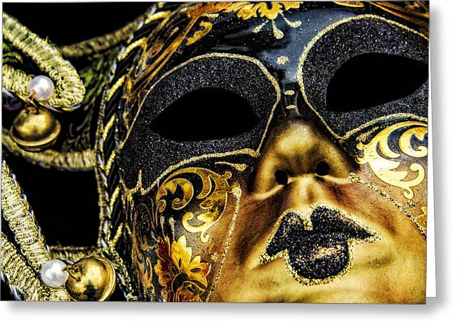 Behind The Mask Greeting Card by Carolyn Marshall