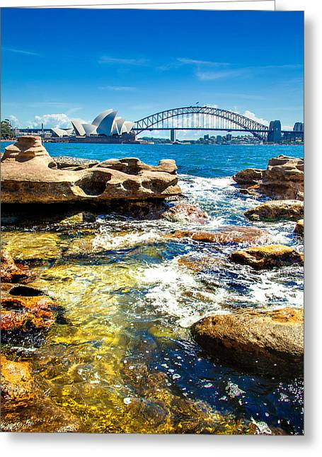 Sydney Harbour Greeting Cards - Behind The Rocks Greeting Card by Az Jackson