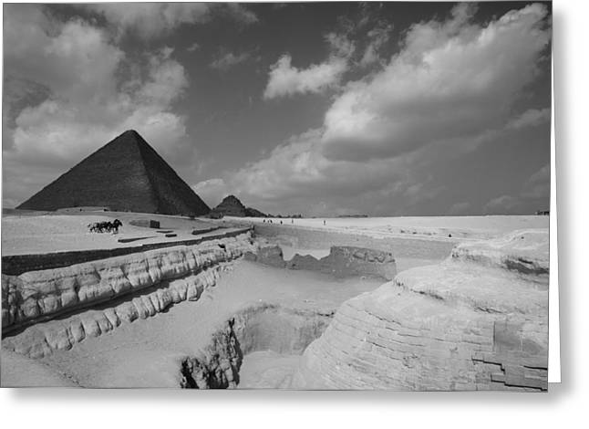 Pyramids Greeting Cards - Behind the Sphynx Greeting Card by Donna Corless
