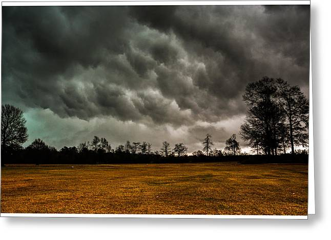 Storm Clouds Tapestries - Textiles Greeting Cards - Behind the Tornado Greeting Card by James Hennis
