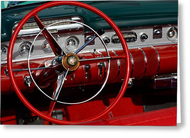Steering Greeting Cards - Behind the Wheel of a Buick Greeting Card by Anthony Robinson
