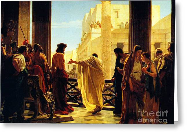 Ecce Paintings Greeting Cards - Behold the Man Greeting Card by Antonio Ciseri