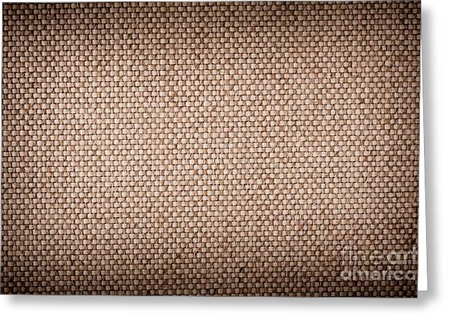 Beige Abstract Greeting Cards - Beige burlap cloth texture Greeting Card by Arletta Cwalina
