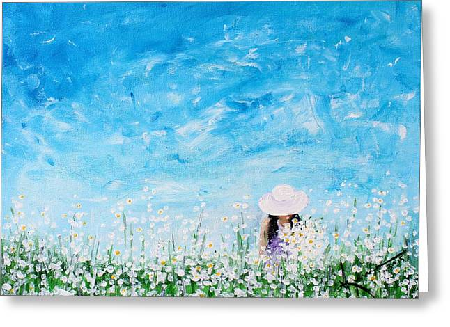 Woman In Summer Meadow Greeting Cards - Being a Woman - #1 In a field of daisies Greeting Card by Kume Bryant