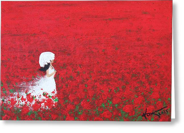 Lady With Red Umbrella Greeting Cards - Being a Woman - #2 In a field of poppies Greeting Card by Kume Bryant