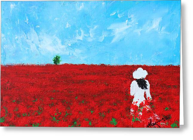 Woman In A Dress Greeting Cards - Being a Woman - #4 In a field of poppies Greeting Card by Kume Bryant