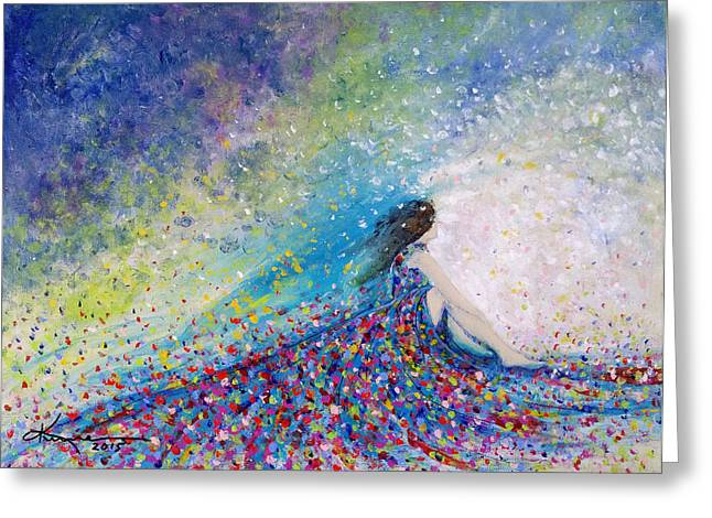 Woman In A Dress Greeting Cards - Being a Woman - #5 In a daydream Greeting Card by Kume Bryant