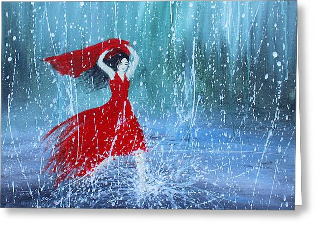 Woman In A Dress Greeting Cards - Being a Woman 7 - In the Rain Greeting Card by Kume Bryant