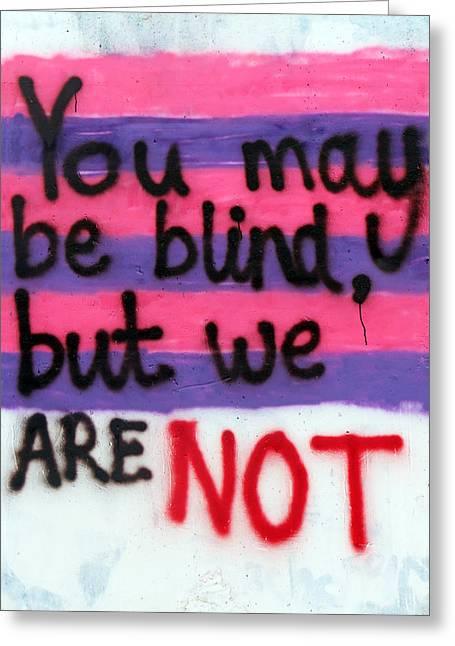 Being Blind Greeting Card by Munir Alawi