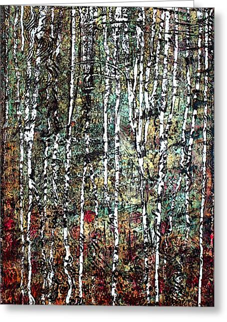 Stood Mixed Media Greeting Cards - Being In Birch  Greeting Card by Nancy TeWinkel Lauren