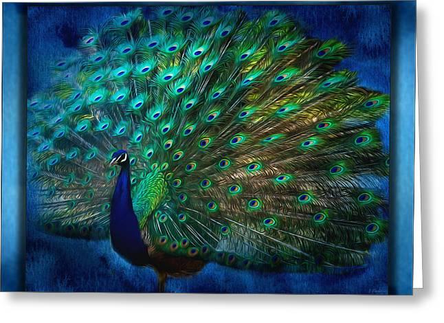 Being Yourself - Peacock Art Greeting Card by Jordan Blackstone