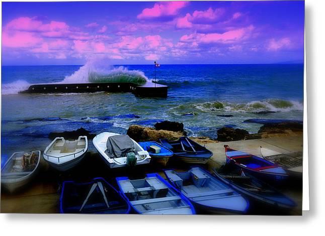 Beirut Seaside Waves Greeting Card by Funkpix Photo Hunter