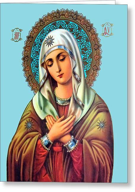 Orthodox Paintings Greeting Cards - Beit Jala Mary Greeting Card by Munir Alawi