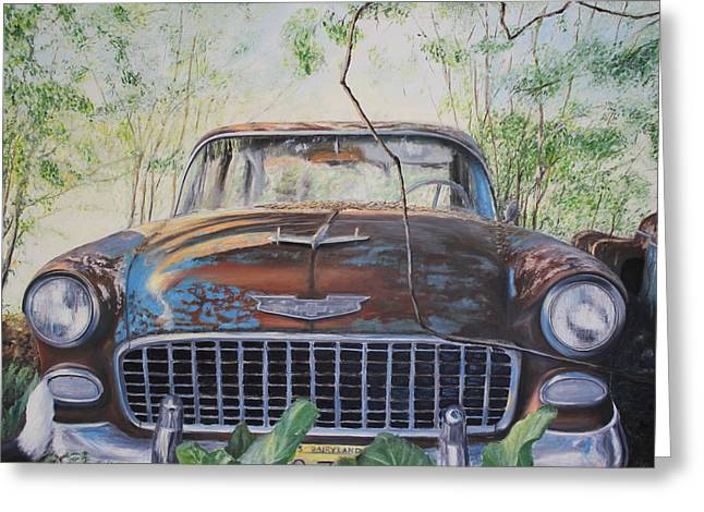 American Automobiles Paintings Greeting Cards - Bel Air Greeting Card by Daniel W Green