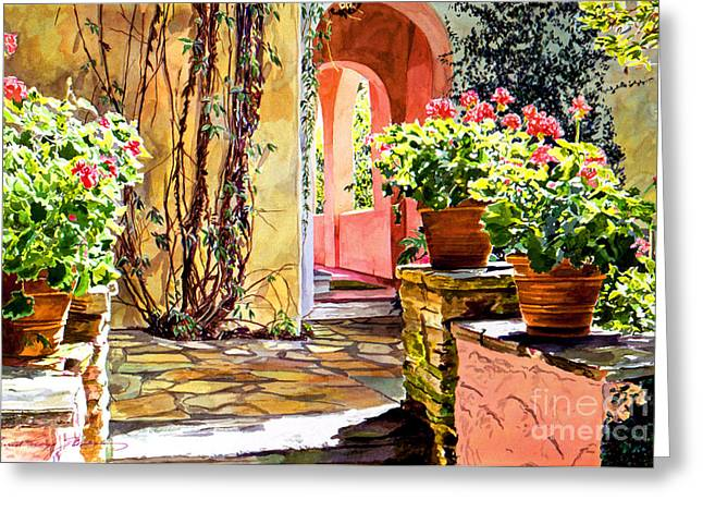 Patio Decor Greeting Cards - Bel-Air Geraniums Greeting Card by David Lloyd Glover