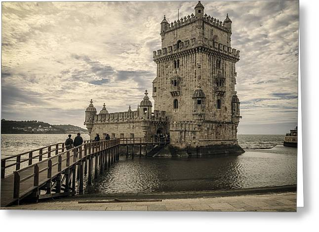 Greeting Cards - Belem Tower Lisbon Portugal Greeting Card by Joan Carroll
