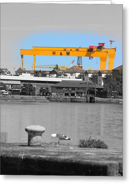 Travel Sculptures Greeting Cards - Belfast Cranes Greeting Card by Karen Tierney