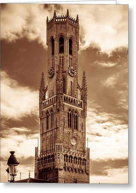 Brown Tone Greeting Cards - Belfry Tower of Bruges Greeting Card by Wim Lanclus