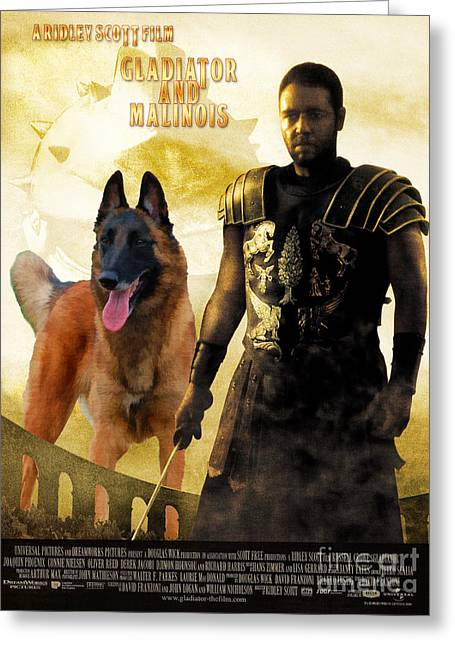 Belgian Malinois Art Canvas Print - Gladiator Movie Poster Greeting Card by Sandra Sij
