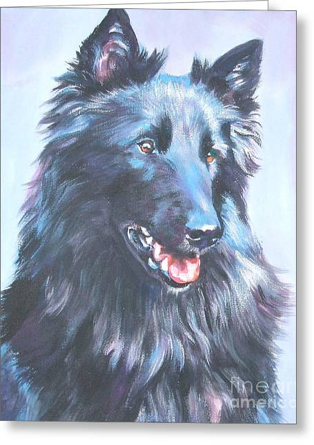 Sheepdog Greeting Cards - Belgian Sheepdog portrait Greeting Card by L A Shepard