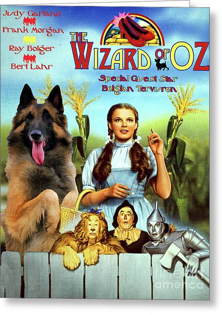 Belgian Tervuren Art Canvas Print - The Wizard Of Oz Movie Poster Greeting Card by Sandra Sij