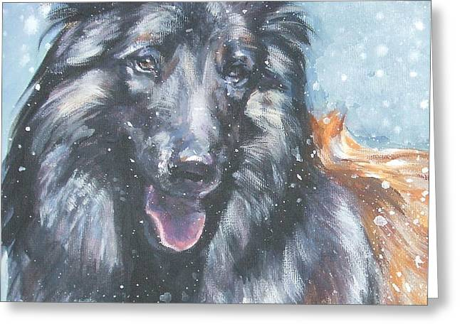Belgian Tervuren in snow Greeting Card by Lee Ann Shepard