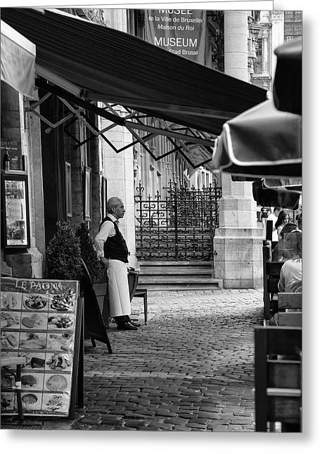 Belgian Waiter Outside Restaurant Greeting Card by Georgia Fowler