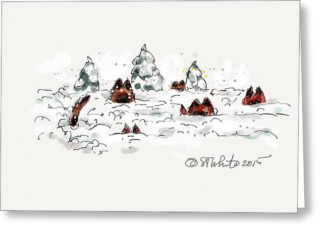 Dog In Snow Drawings Greeting Cards - Belgians in Snow Greeting Card by Little Dove  Doodles