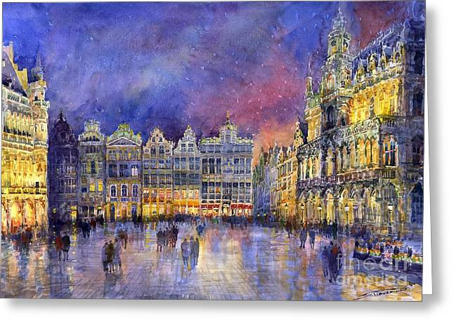 Places Greeting Cards - Belgium Brussel Grand Place Grote Markt Greeting Card by Yuriy  Shevchuk