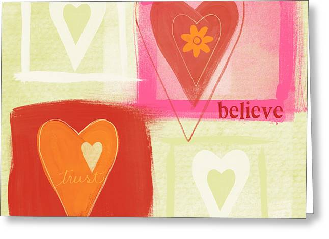 Teens Greeting Cards - Believe In Love Greeting Card by Linda Woods